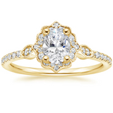 1.60ct Vintage Oval Cut Moissanite Halo Engagement Ring,  Available in White Gold, Platinum, Rose Gold or Yellow Gold