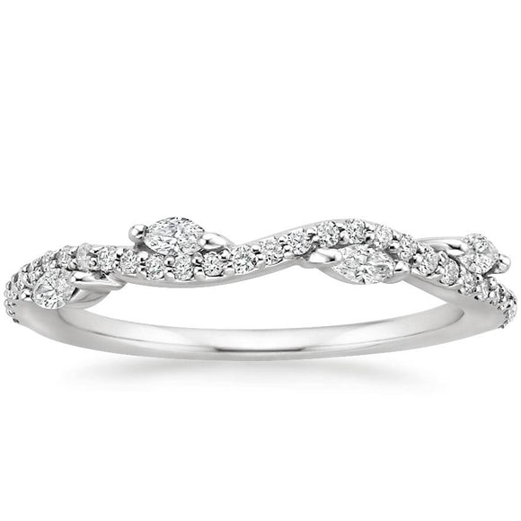0.25ct Moissanite Wedding Band, Delicate Half Eternity Ring, Nature Inspired, Available in White Gold, Yellow Gold, Rose Gold  or Platinum