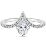 Lab-Diamond Oval Cut Chevron Engagement Ring, Choose Your Stone Size and Metal