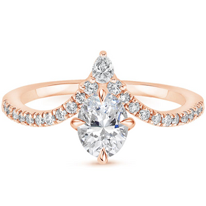 1.25ct Oval Cut Moissanite Chevron  Engagement Ring,  Available in White Gold, Platinum, Rose Gold or Yellow Gold