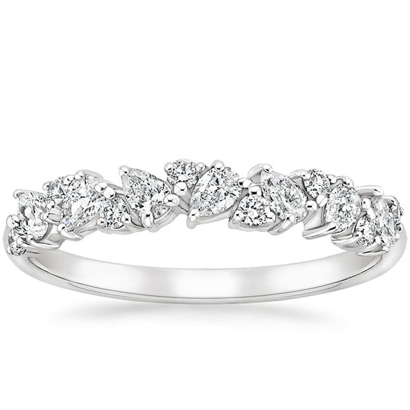 0.50ct Moissanite Wedding Band, Nature Inspired Half Eternity Ring,  Available in White Gold, Yellow Gold, Rose Gold or Platinum