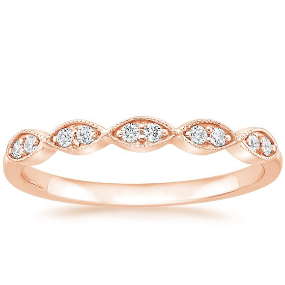 0.20ct Vintage Moissanite Wedding Band, Delicate Half Eternity Ring,  Available in White Gold, Yellow Gold, Rose Gold  or Platinum
