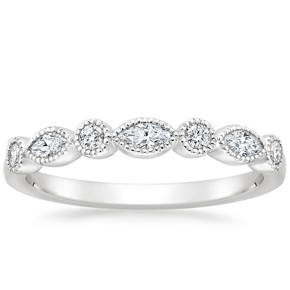 0.26ct Vintage Moissanite Wedding Band, Delicate Half Eternity Ring, Available in White Gold, Yellow Gold, Rose Gold  or Platinum