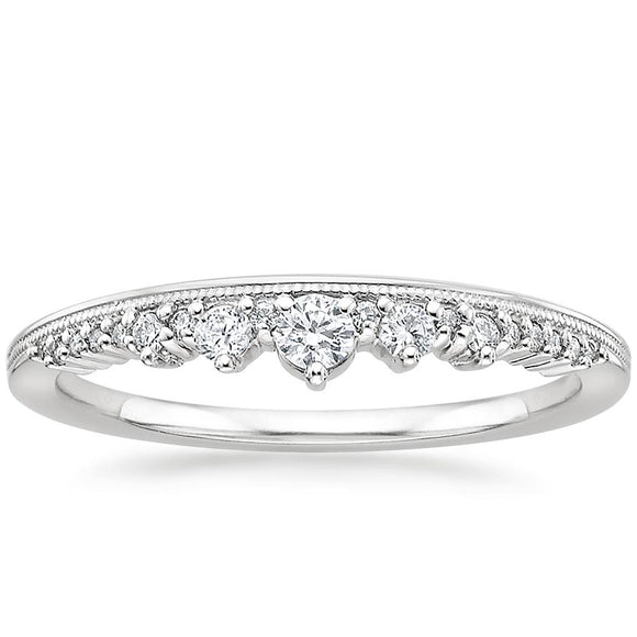 0.20ct Moissanite Wedding Band, Delicate Half Eternity Ring, Available in White Gold, Yellow Gold, Rose Gold  or Platinum