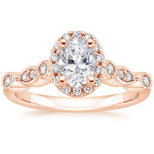 1.45ct Vintage Oval Cut Moissanite Halo Engagement Ring,  Available in White Gold, Platinum, Rose Gold or Yellow Gold