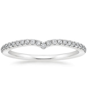 0.15ct Moissanite Wedding Band, Delicate Wish Bone Half Eternity Ring, Available in White Gold, Rose Gold, Yellow Gold or Platinum