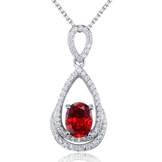 2.00ct Bridal Oval Ruby Halo Pendant, Bridal Halo Diamond Necklace, 925 Silver