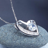 1.00ct Bridal Diamond Heart Pendant, Love Heart Diamond Necklace, 925 Silver