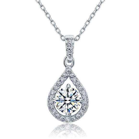 1.00ct Diamond Halo Pendant, Round Cut Classic Diamond Necklace, 925 Silver