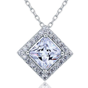 1.50ct Princess Cut Diamond Halo Pendant, Classic Diamond Necklace, 925 Silver