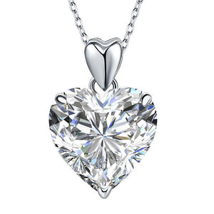 5.00ct Diamond Heart Pendant, Classic Heart Diamond Necklace, 925 Silver