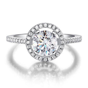 1.25ct Brillaint Cut Diamond Halo Ring, 925 Sterling Silver Engagement Ring