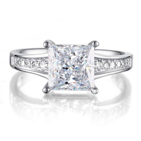 1.50ct Classic Princess Cut Diamond Engagement Ring, 925 Sterling Silver
