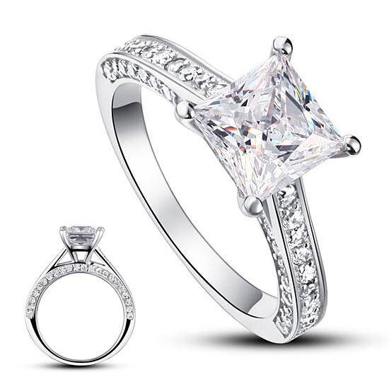 1.50ct Vintage Princess Cut Diamond  Engagement Ring, 925 Silver