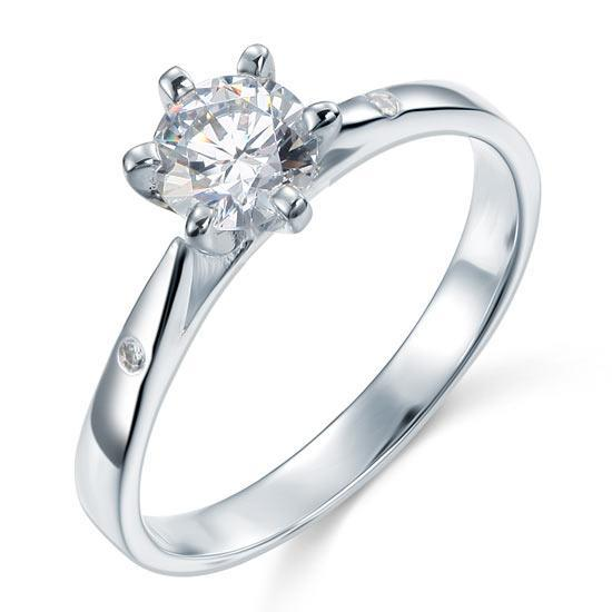 0.80ct Classic Diamond Engagement Ring, Round Cut, 925 Silver