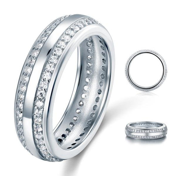 0.80ct Daimond Eternity Ring, 6.00mm Wide, 925 Sterling Silver