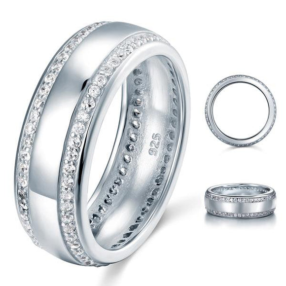 0.80ct Men's Contemporary Wedding Band Set In Solid Sterling Silver 925