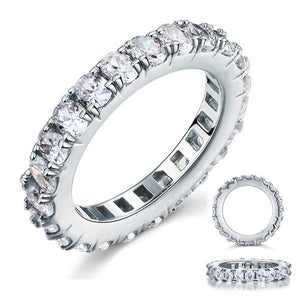 4.25ct Oval Cut Diamond Full Eternity Ring, 925 Sterling Silver