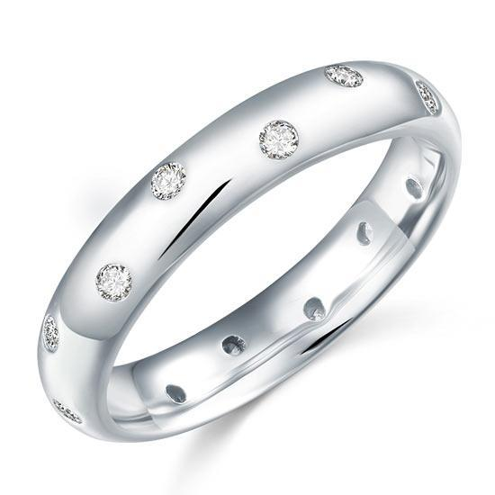 0.15ct Contemporary Full Eternity Ring, Wedding Band, 925 Silver