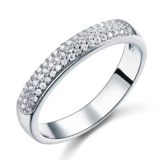 0.45ct Pave Set, Round Brilliant Cut Half Eternity Ring
