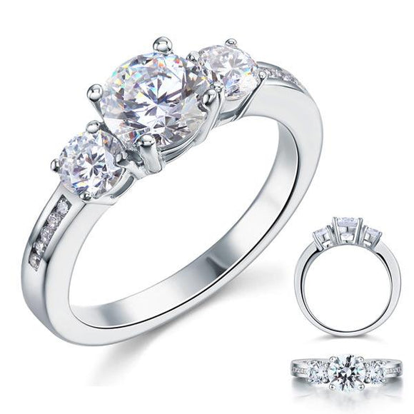 1.25ct Classic Diamond 3 Stone Engagement Ring, 925 Silver