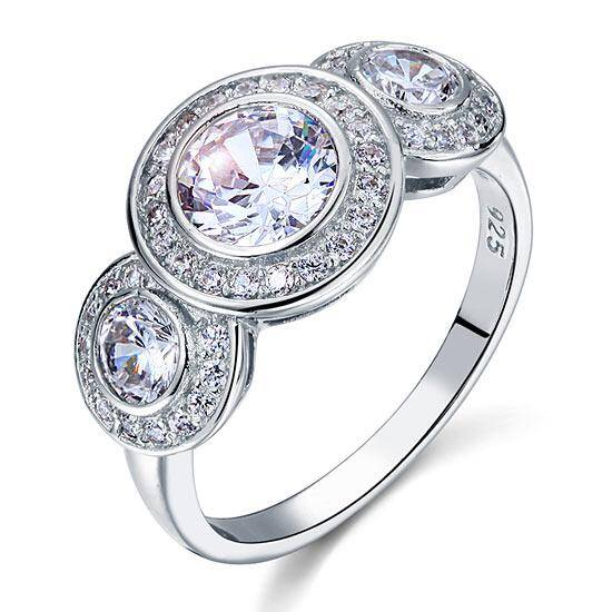 2.50ct Art Deco 3 Stone Engagement Ring, Diamond Halo Surround, 925 Silver