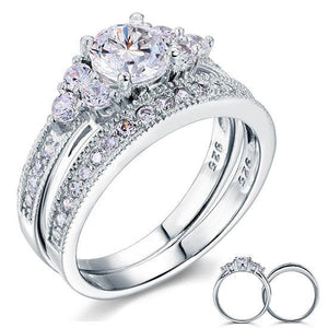 1.00ct Vintage Round Cut Diamond Bridal Ring Set, 925 Sterling Silver