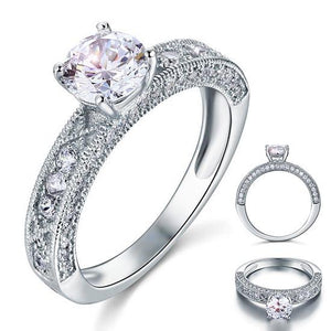 1.25ct Vintage Round Cut Diamond Engagement Ring, 925 Sterling Silver