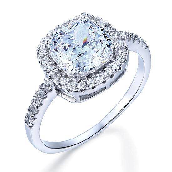 3.00ct Cushion Cut Diamond Halo Engagement Ring, 925 Sterling Silver