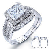 1.50ct Princess Cut Diamond Halo Bridal Ring Set, 925 Sterling Silver