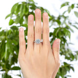 2.00ct Round Cut Diamond Halo Engagement Ring, 925 Sterling Silver