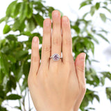 2.00ct Pink Diamond Halo Engagement Ring, 925 Sterling Silver