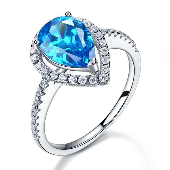 2.00ct Blue Pear Cut Diamond Engagement Ring, Diamond Halo, 925 Silver