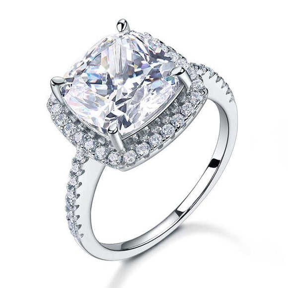 5.00ct Cushion Cut Diamond Halo Engagement Ring, 925 Sterling Silver
