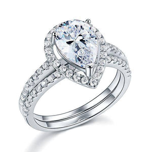 2.00ct Pear Cut Diamond Halo Bridal Ring Set, 925 Sterling Silver
