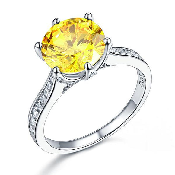 3.00ct Vivid Yellow Diamond Engagement Ring, Round Brilliant Cut, 925 Sterling Silver