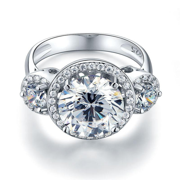 4.00ct Diamond Halo 3 Stone Engagement Ring, Round Brilliant Cut, 925 Silver