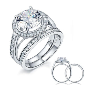3.50ct Classic Diamond Halo Bridal Ring Set, Round Brilliant Cut, 925 Silver