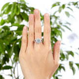 1.25ct Double Halo, Round Brilliant Cut Diamond Engagement Ring, 925 Sterling Silver