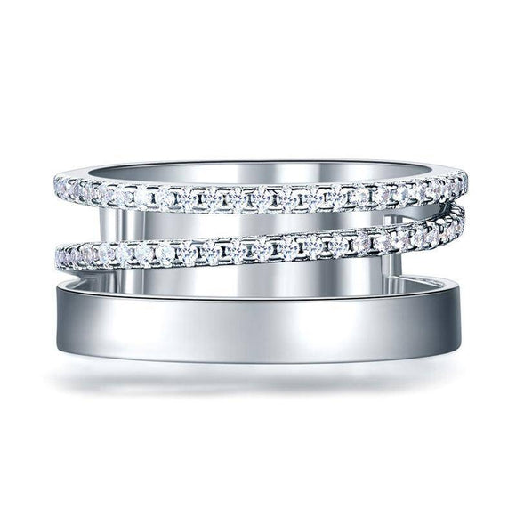 0.40ct Diamond Set Half Eternity Band, 925 Sterling Silver