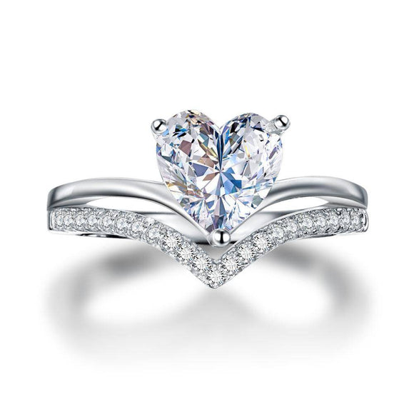 2.00ct Heart Cut Diamond Bridal Ring Set, 925 Sterling Silver