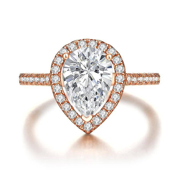 2.00ct Rose Gold Pear Diamond Halo Engagement Ring, 925 Silver
