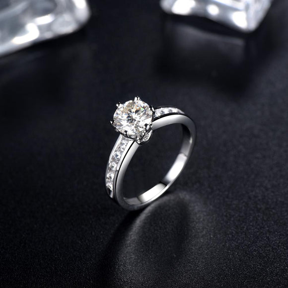 1.00ct Moissanite Engagement Ring, Classic Six Claw with Channel Set Shoulders , Sterling Silver & Platinum