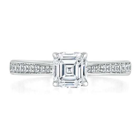 1.00ct  Asscher Cut Moissanite Engagement Ring, Classic Style,  Available in White Gold, Platinum, Rose Gold or Yellow Gold