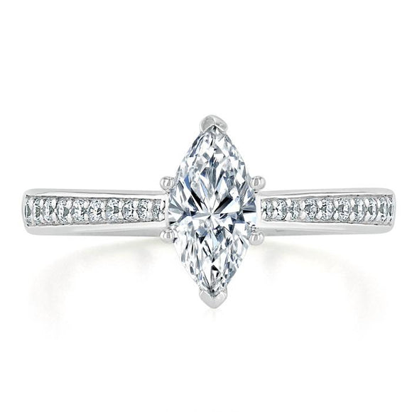 Lab-Diamond Marquise Cut Engagement Ring, Classic Style, Choose Your Stone Size and Metal