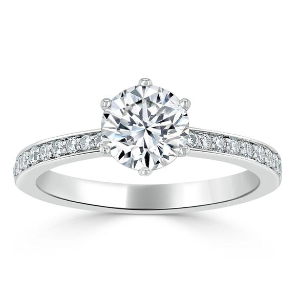 Lab-Diamond, Round Cut Engagement Ring, Classic Tiffany Style, Choose Your Stone Size and Metal