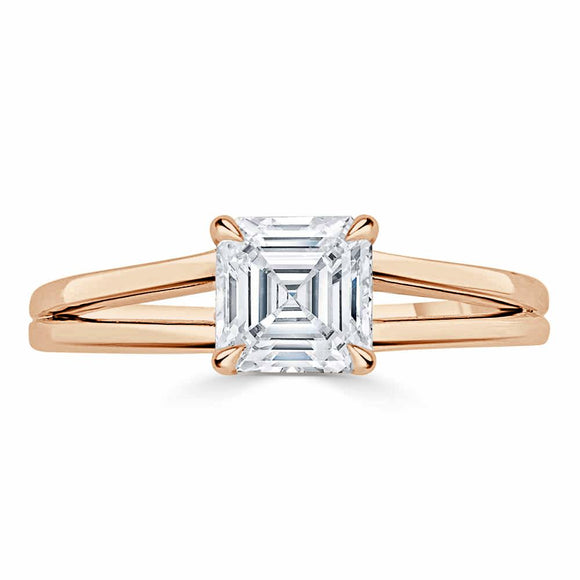 Lab-Diamond Asscher Cut Engagement Ring, Classic Style with Split Shank, Choose Your Stone Size and Metal