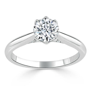 Lab-Diamond, Round Cut Engagement Ring, Classic Six Claw, Choose Your Stone Size and Metal