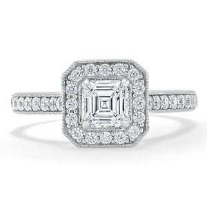 1.40ct Asscher Cut Moissanite Engagement Ring, Classic Halo, Available in White Gold, Platinum, Rose Gold or Yellow Gold