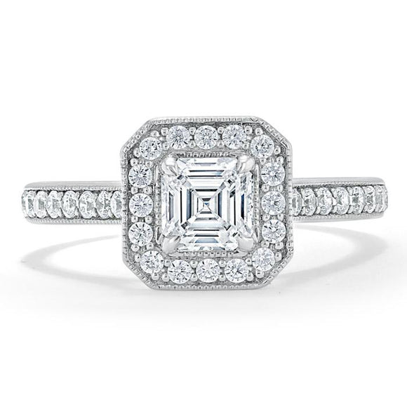 Lab-Diamond Asscher Cut Engagement Ring, Classic Halo, Choose Your Stone Size and Metal